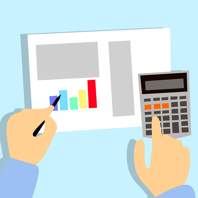 graphic of calculator, graph on paper and hands holding pencil
