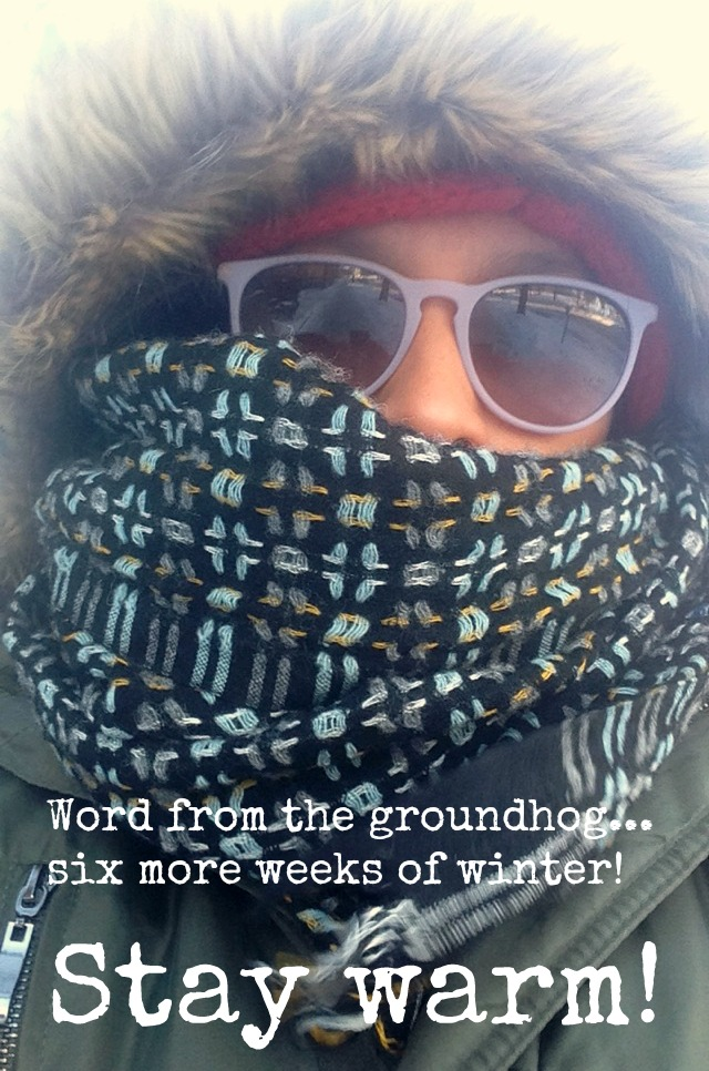 Woman with fur hood, scarf, glasses to protect her eyes from the freezing wind and snow
